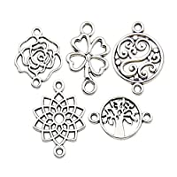 Youdiyla 100 Flower Connector Charms Collection, Bulk Lotus Rose Four Leaf Clover Tree of Life Charms Metal Pendant Craft Supplies Findings for Necklace and Bracelet Jewelry Making (HM298)