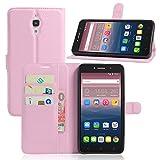 Qiaogle Telefono Case - Custodia in pelle PU Basamento Custodia Protettiva Cover per Alcatel Onetouch Pixi 4 6.0 8050D (3G Version?6 Pollici) - FC08 / Pink Stile di affari di modo