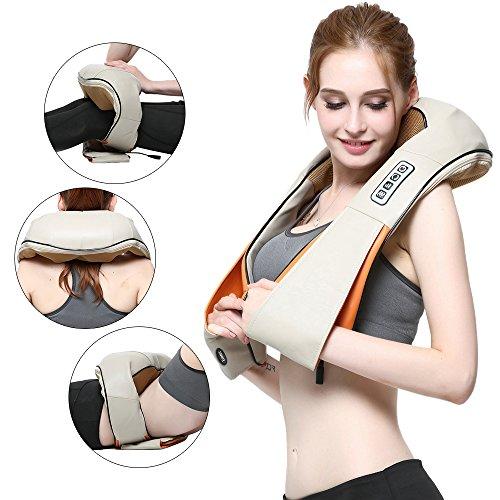 Ecotec Massagegerät mit Wärmefunktion für Schulter Nacken Rücken MARNUR Nackenmassagegerät Shiatsu Elektrisch Massager mit 3 Einstellbaren Geschwindigkeiten Muskel Schmerzlinderung zu Hause Büro (weiß)