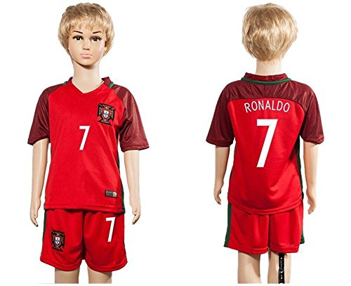 Top Verkauf Portugal 7 Cristiano Ronaldo Home für Kinder Kid Jugend Fußball Soccer Jersey in Rot Small - Youth Soccer Portugal Jersey