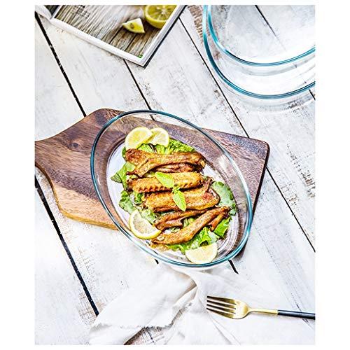 YYF Plat de poisson grillé en verre transparent trempé - Plat de poisson cuit à la vapeur et grand four micro-ondes 2L / 3L (Taille : 35cmX23.8cmX6.6cm)