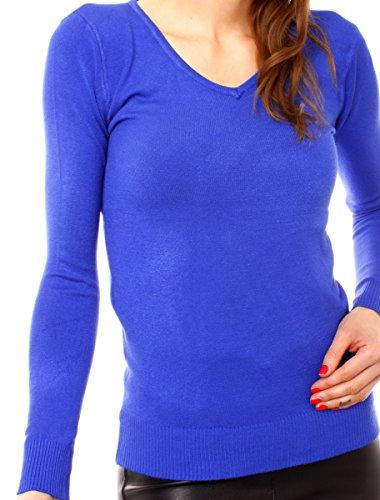 Fragolamoda Damen Basic Feinstrick V Pullover Royal