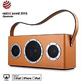 GGMM M4 Multiroom Enceinte AirPlay - Haut-parleur portable WIFI / Bluetooth -Speaker d'extérieur sans Fil avec Poignée en Cuir (Orange)