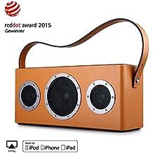 [Apple Airplay Certificato] GGMM M4 Altoparlante senza Fili WiFi+Bluetooth Stereo Portatile per Musica in Streaming, Usi Interni ed Esterni, Batteria incorporata, 10 Ore di Autonomia, Potente 40W Audio Driver, Bass Boost, Multiroom Play (Giallo)
