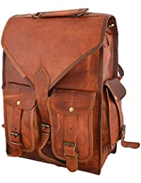 Genuine Leather Vertical Back Pack Messenger Bag Brown BY Bag House - B07BZVK1GN