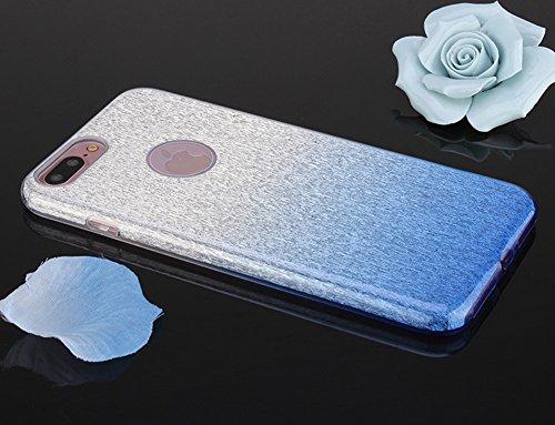 Cover iPhone 7 Plus,Custodia iPhone 7 Plus,ikasus® Layer 3 Crystal Clear Hard PC & Soft TPU & Glitter Stickers con Sfumatura di colore Caso Custodia custody sleeve Case Cover per iPhone 7 Plus Custodi blu