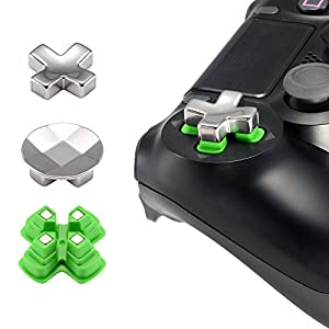 eXtremeRate PS4 Steuerkreuz D-Pad Knöpfe Sticks Buttons Kappen Mod Kit Tasten Set aus Aluminium für Playstation 4/PS4 Pro/PS4 Slim(3 Teiliges Set)