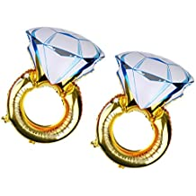 MagiDeal 2 Piezas Globos de Papel de Aluminio Forma de Anillo de Diamantes Decoración de Compromiso
