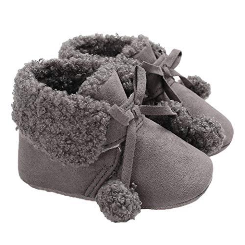 Kakiyi Baby-Mädchen Pom Pom Booties Non Skid Sohle Säuglingskleinkind Winter-Flachbogen-Knoten-Schuhe - Pom Bootie