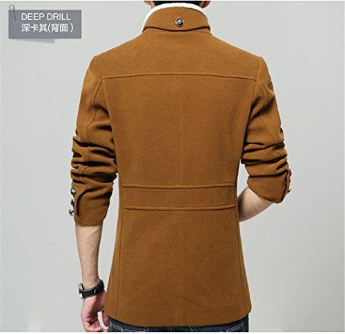 Hommes d'hiver col amovible à manches longues en laine mélangée Slim Fit Jacket Outwear Coat Kamel