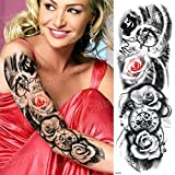 Handaxian 3pcsTattoo Autocollant Complet Bras Horloge Tigre Loup Totem Ange Rose...