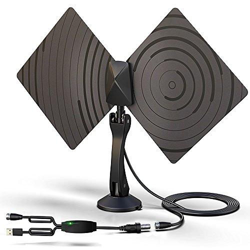 Antena TV, Vobon Antena Interior HDTV, 50 millas Gama de Recepción con Amplificador Desmontable de Señal y 3M de Cables Coaxial de Alto Rendimiento, La Mejor Recepción en Bandas de UHF y VHF (Negro)