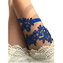 Lemandy TD031 - Liga de boda de encaje hecha a mano azul real