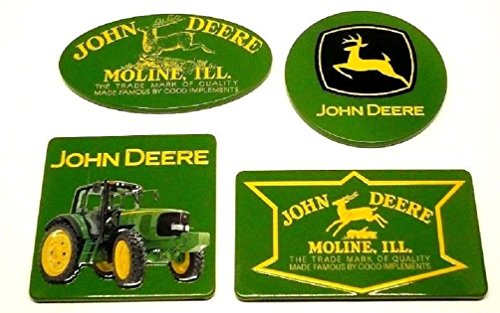 John Deere Magnet (John Deere Set of 4 New Collectible Licensed Embossed Decorative Tin Fridge Magnets)
