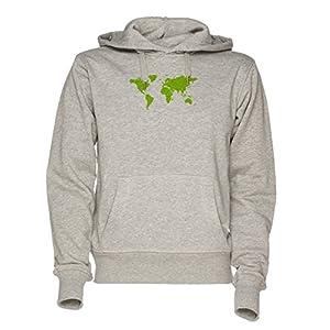 Verde Mundo Mapa Unisexo Gris Sudadera Con Capucha Hombre Mujer