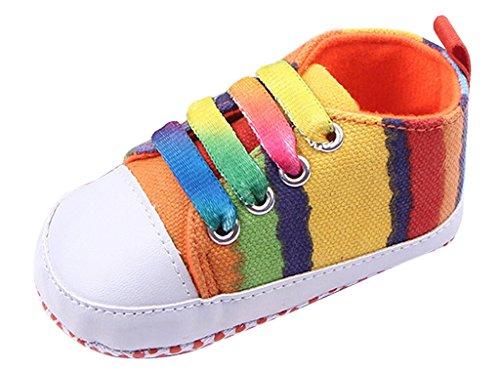 Lukis Baby Mädchen Lauflernschuhe Kleinkindschuhe Canvas Schürschuhe Regenbogen