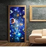 HHZDH 3D Faux Paysage Autocollant Mural en Bois Vue Galaxy Porte Autocollant Décor À La Maison Autocollant Galaxy pour Porte Chambre Papier Peint Porte Coulissante Décor