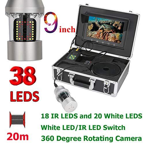 Z-DYQ Unterwasserfischerkamera 700TVL Tragbare Wasserdichte 38 LED 360 Grad Drehbare Kamera Fischfinder 9 Zoll LCD-Monitor 20M Kabel