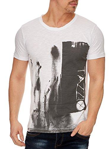 Tazzio Rundhals Baumwolle T-Shirt mit Print 17106 Weiß