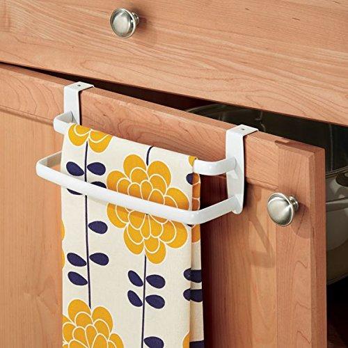 halter – doppelte Halterung zum Einhängen über die Küchenschrank-Tür – Der praktische Handtuchhalter ohne Bohren ist auch als Handtuchstange im Bad geeignet – weiß (über Der Tür Schrank)