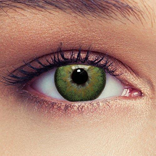 """2 Grüne Kontaktlinsen mit Stärke natürlich wirkende farbige Drei Monatslinsen, geeignet für dunkle Augen + Gratis Behälter -1,50""""Dimension Green"""""""
