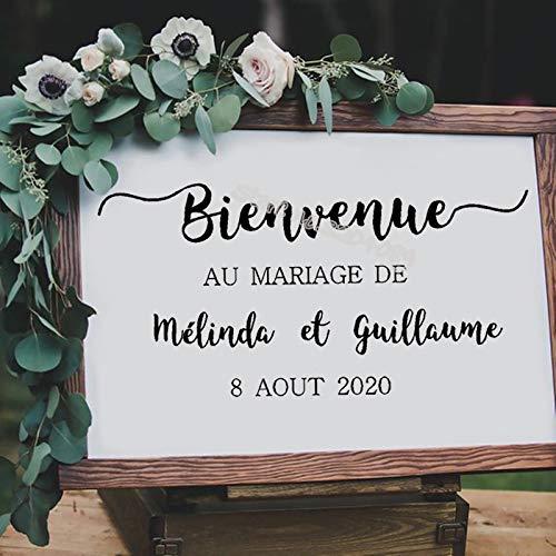 yiyiyaya Hochzeitsdekor Holzplatte wasserdicht Aufkleber Willkommen Party Zeichen Bienvenue Au Mariage De Benutzerdefinierte Namen Braut Bräutigam Datum Aufkleber82 * 42 cm