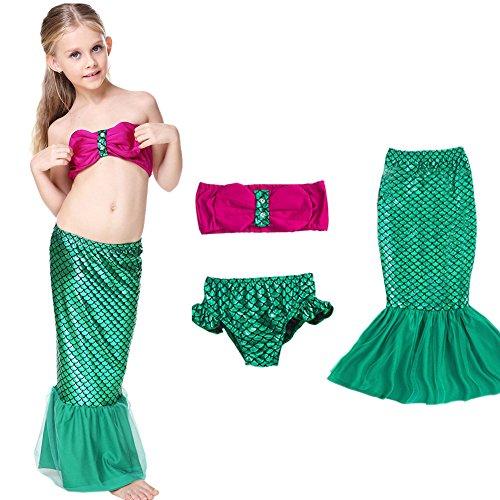 Le SSara Girls '3 Pezzi Mermaid Tail Scales bikini che bagna Swimwear Beach Swimsuit (7-8 anni)
