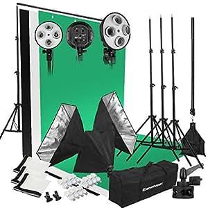 Excelvan Set di luci per studio fotografico, 2.000 W, 5.500 K, 3 softbox + 3 testine d'illuminazione con 4 attacchi + 3 treppiedi + 12 lampadine LED + stativo + sfondo