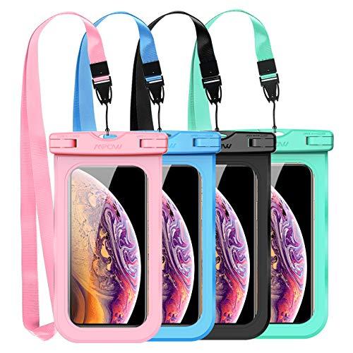Mpow Funda Móvil Impermeable, Bolsa Estanca,Bolsa de Teléfono Móvil Seca para iPhone XS,XS MAX,X, 8, 8 Plus,7/7 Plus,Google Pixel, LG G6, P10/P9,Aquaris,Sony,Galaxy(4 Paquetes