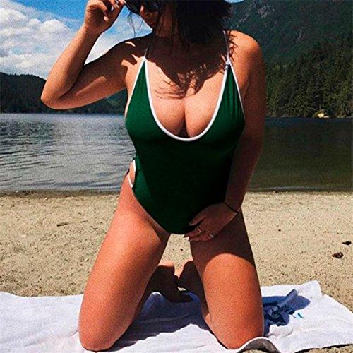 Bluestercool Costume Da Bagno Donna Intero Sexy 2018 Moda Swimwear Verde