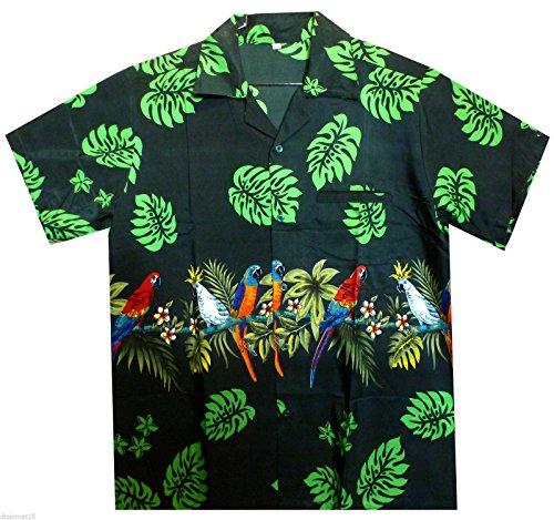 Funky Hawaiihemd, Papagei Brustdruck, grün, (Muster Papagei Kostüm)
