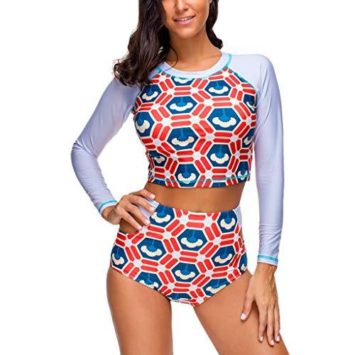 kolila Damen UV Sonnenschutz Langarm Bikini Badeanzug mit Zip lässig Bedruckte Bademode Badeanzüge(Farbe6,L)
