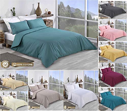 Tim's Textile Bettwäsche-Set, 100% Baumwolle, einfarbig, für Doppelbett, King-Size, Super-King-Size, 100% Baumwolle, meergrün, King Size - Gelb King-set Bettbezug