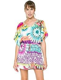 Desigual 61NL0D2 - Robe de plage - Tunique - À fleurs - Manches courtes - Femme