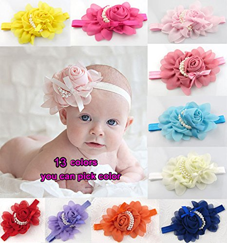 Liroyal Baby's Headbands Girl's Rose Chiffon Head Band with Pearl No.4