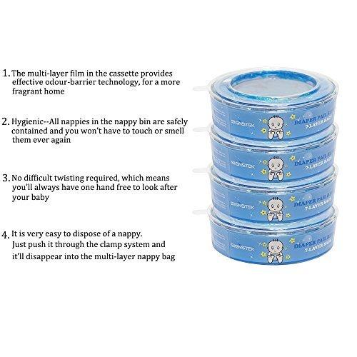 Signstek Nachfüllkassetten für Angelcare Windeleimer Verbesserung Version, stechender Geruch versperren (8 Stk)