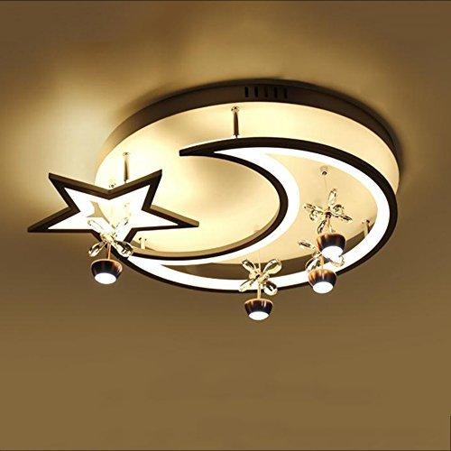 QAZ Chambre d'enfant moderne Plafonnier LED Environnement Chambre Garçon et fille Cartoon/étoile lune Lantern, diamètre 42cm (taille : 52 * 10cm)