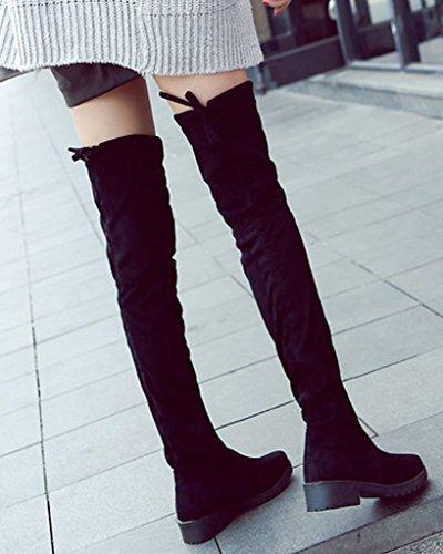 Minetom Women Autumn Fashion Botas Sobre La Rodilla Tight Slim Suede Elastic Flat Botas Largas Negro