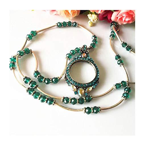 WANGYDFDJ Europäische und amerikanische Modeschmuck Luxus tragbare Lupe Halskette Umfang: 81cm