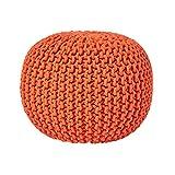 Homescapes Pouf Tricoté Orange 100% Coton Repose-Pied Rembourré des Billes pour Le Salon, la Chambre des Enfants ou pour Les Personnes Âgées