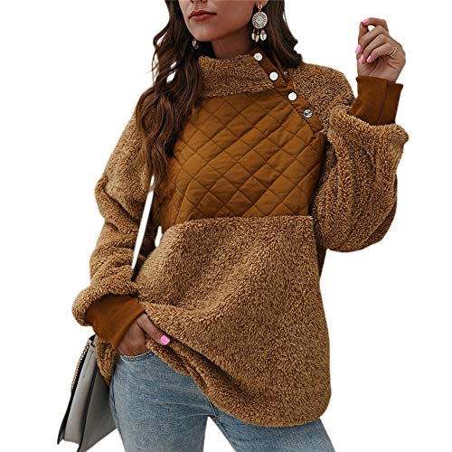 NMQLX Sweat Capuche Femme Pullover Femme Manches Longues Chaud Veste d¡¯Hiver Maillot Marron Taille-46
