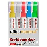 Set de 5 marqueurs à craie liquide Office Marshal® pour tableaux en verre magnétiques | 5 couleurs brillantes incluses | effaçables - haut pouvoir couvrant