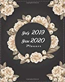 "July 2019-June 2020 Planner: Black Cover Floral, 12 Months July-June Calendar, Daily Weekly Monthly Planner 8"" x 10"""