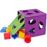Preschool Toys Kinder Bausteine Spielzeug modernen minimalistischen Stil Montage Spielzeug wasserdicht und feuchtigkeitsbeständig ABS-Material Lernspielzeug geeignet für 1-3 Jahre altes Baby 14 * 14 * 14cm-lila