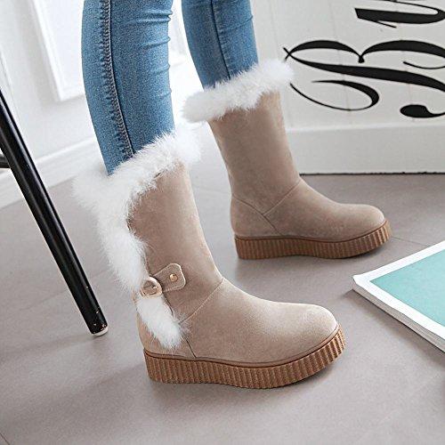 Mee Shoes Damen runde Nubukleder Niedrig Pompon Stiefel Beige