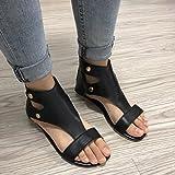 Women Summer Sandals, Bestoppen Women Fashion Flat Ankel Buckle Strap Sandals Ladies New Look Round Head Roman Sandals Slippers Sexy Casual Beach Sandals Shoes Size 4-8 (EU:39, Black)