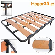 Hogar24.es-Somier Somieres lama ancha reforzada con tacos anti-ruido y patas cilíndricas, tubo 40x30. Fabricación Nacional-105x200cm-PATAS 32CM