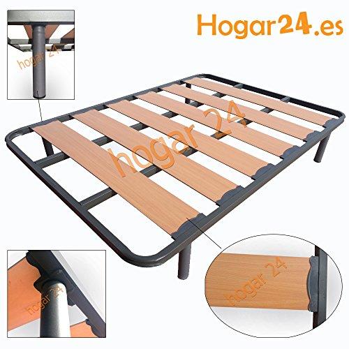 Hogar24.es-Somier Somieres lama ancha reforzada con tacos anti-ruido y patas cilíndricas