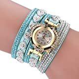 Armbanduhren Mode-Accessoires, Frauen mehrschichtige Band Strass Herz Dial Analoge Quarz-Armbanduhr - Hellblau