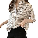 iYmitz DamenGestreifte 3/4 ÄrmelKnopf beiläufig loseArbeit Shirt Top Bluse(Weiß,EU-50/CN-4XL)